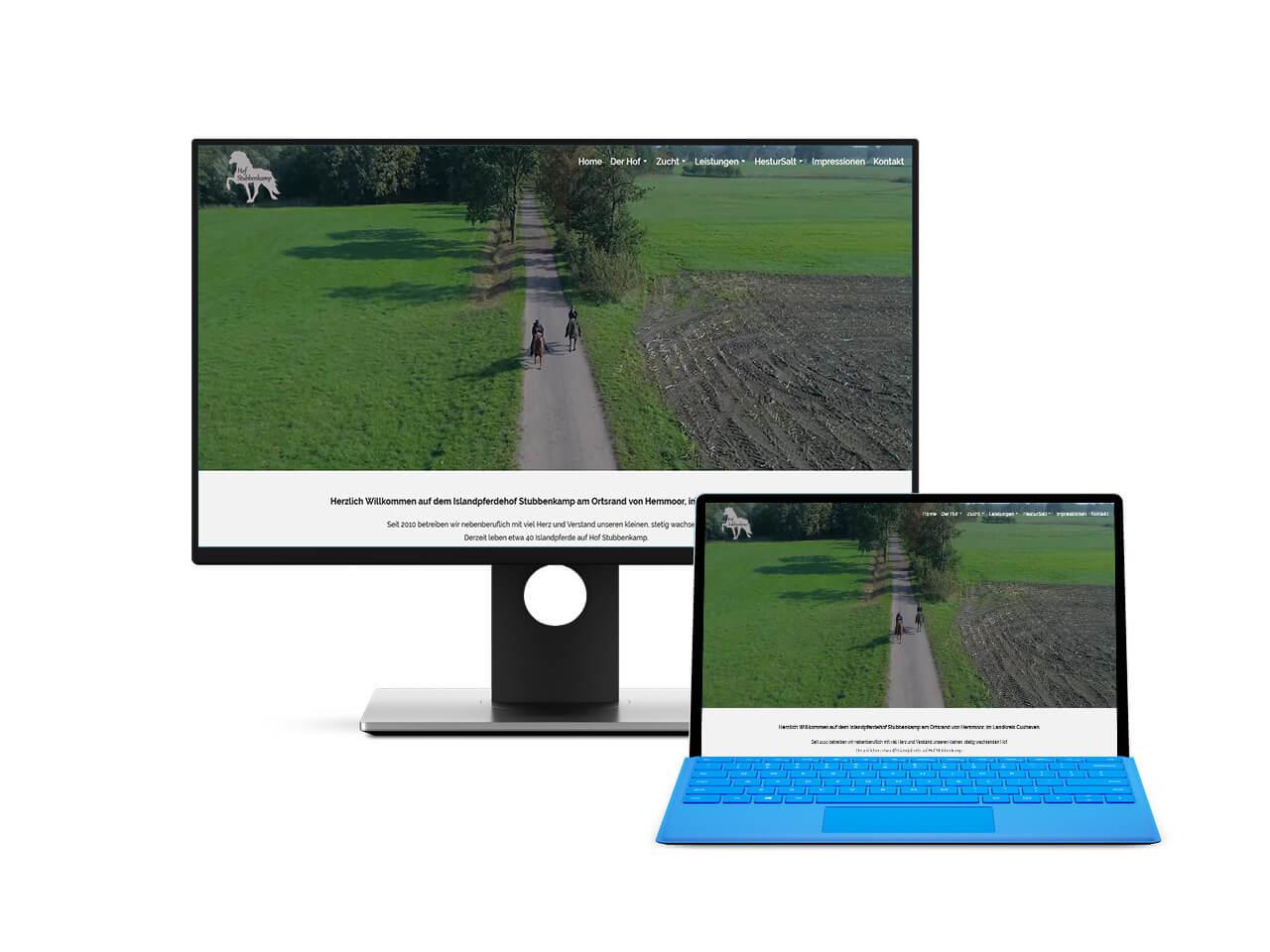 Webdesign Hechthausen Hof Stubbenkamp Island Pferde Hemmoor
