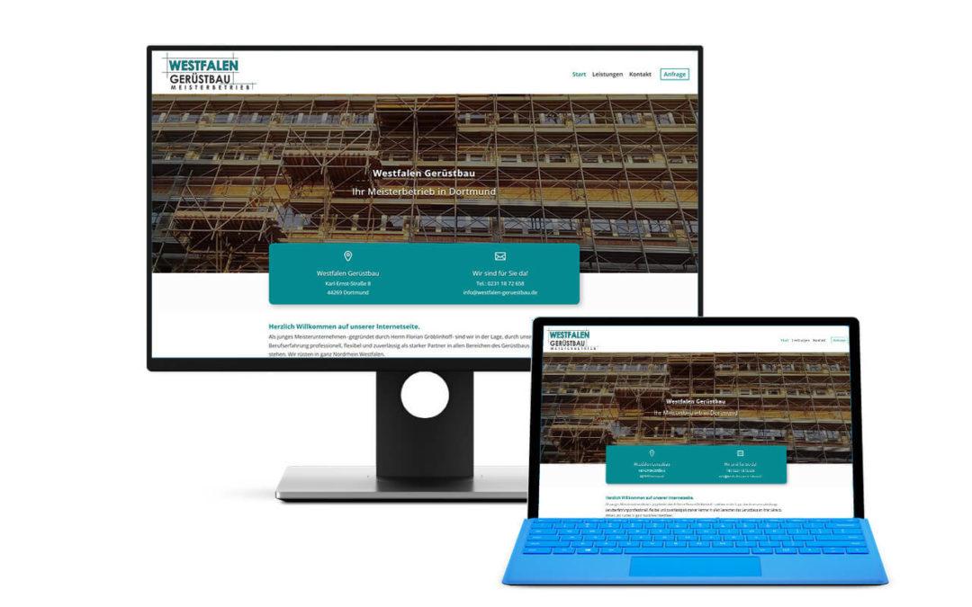 Seite für eine Gerüstbau Firma aus Dortmund