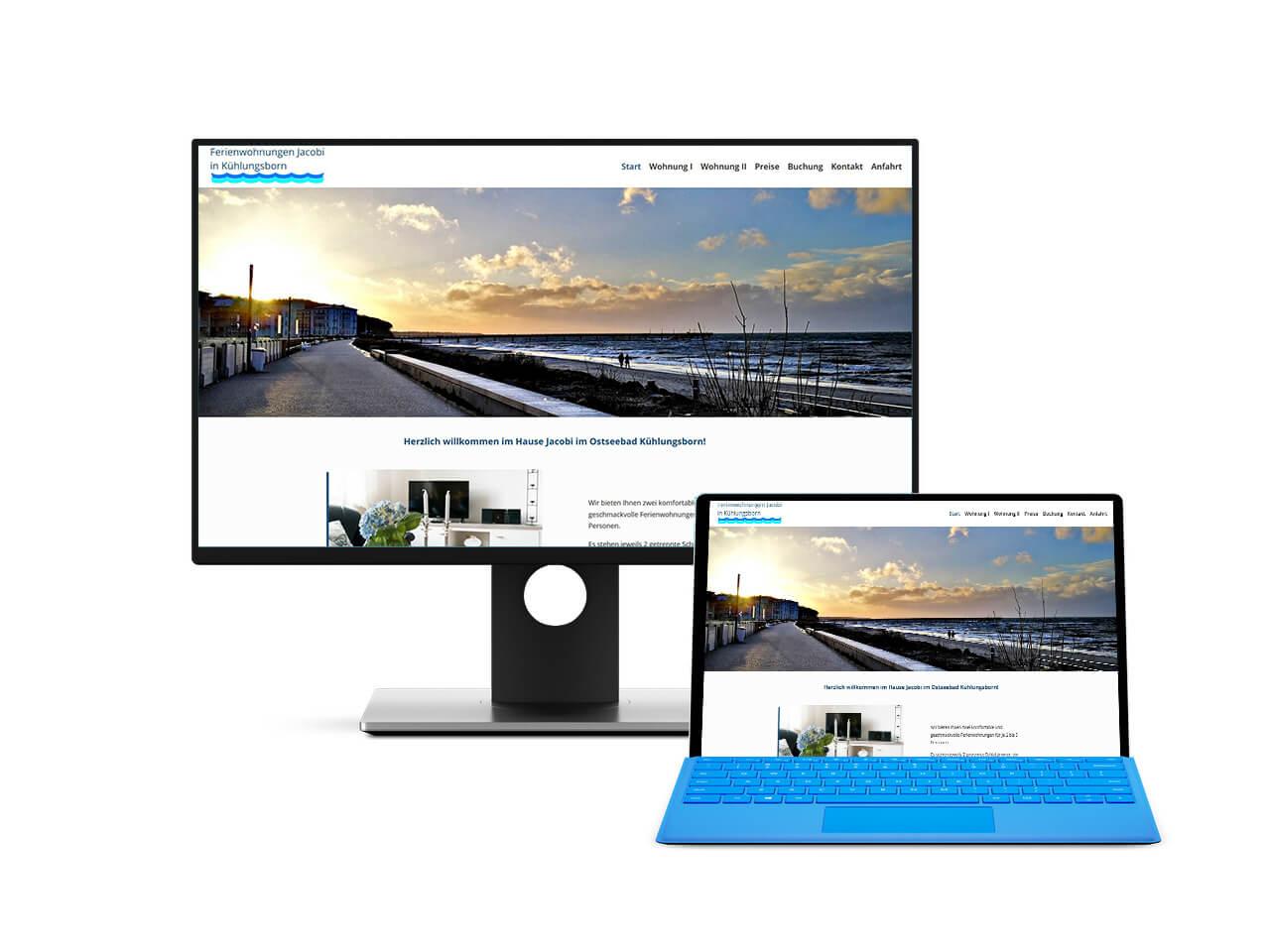 Webdesign Hechthausen zeigt einen Screenshot einer erstellen Website für eine Ferienwohnung