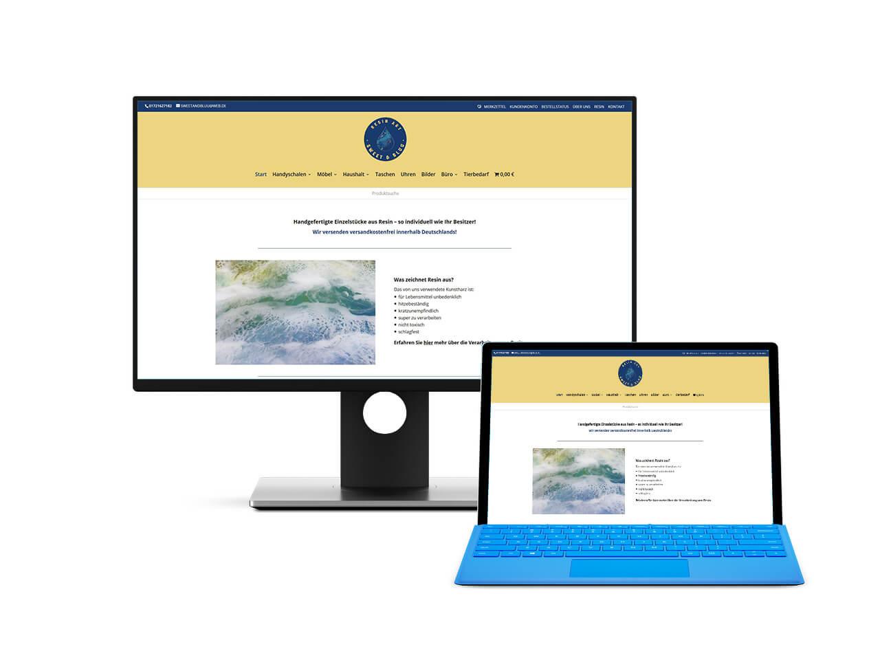 Webdesign Hechthausen - Darstellung des erstellten Onlineshops aus Hemmoor auf einem Screenshot