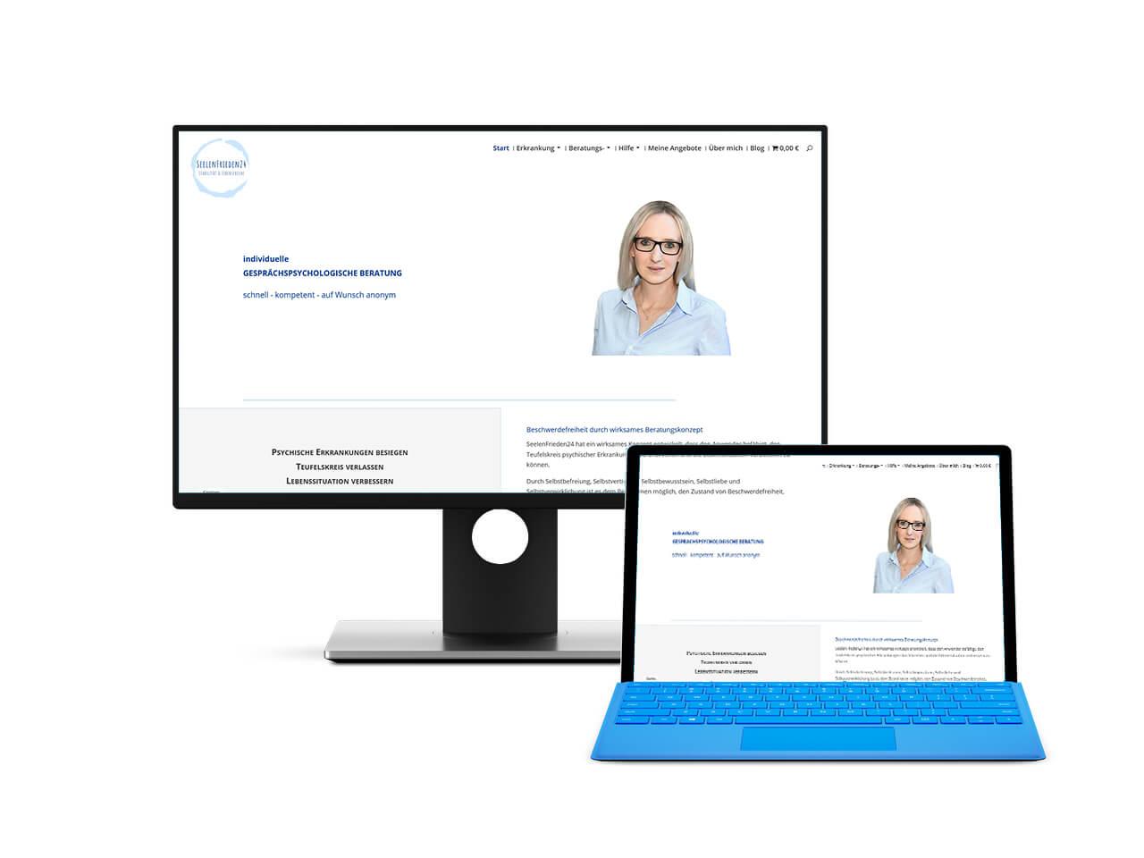 Darstellung der Seite auf einem Screenshot