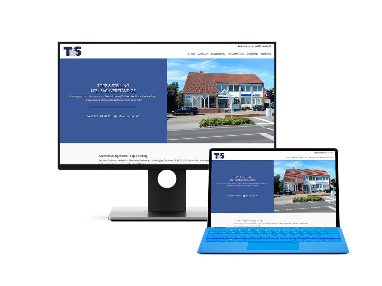 Webdesign Hechthausen - Website für einen Kfz Sachverständigen aus Hemmoor. Darstellung der Seite auf einem Screenshot