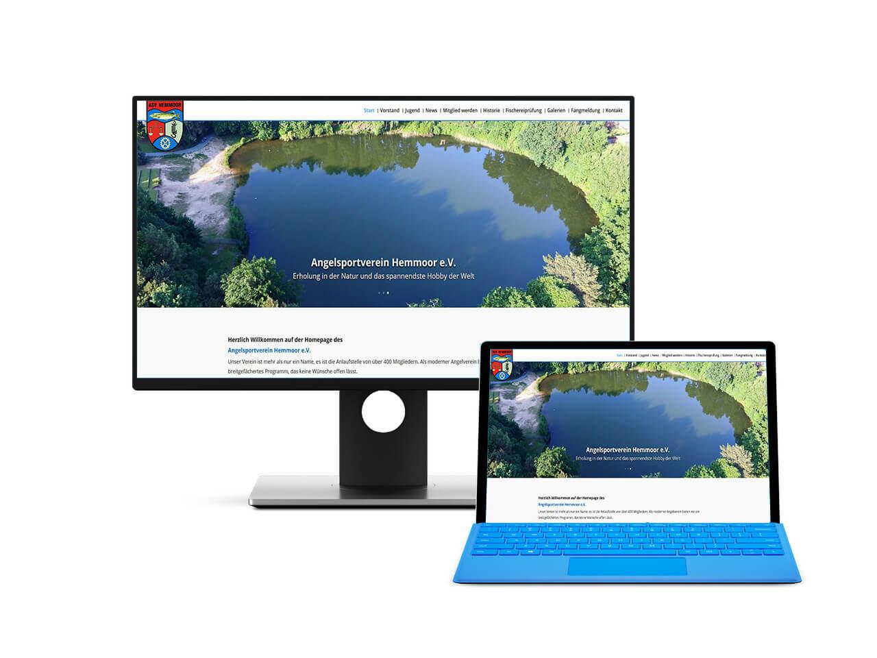 Webdesign Hechthausen - Darstellung eines Screenshots der erstellten Seite für den Angelsportverein Hemmoor