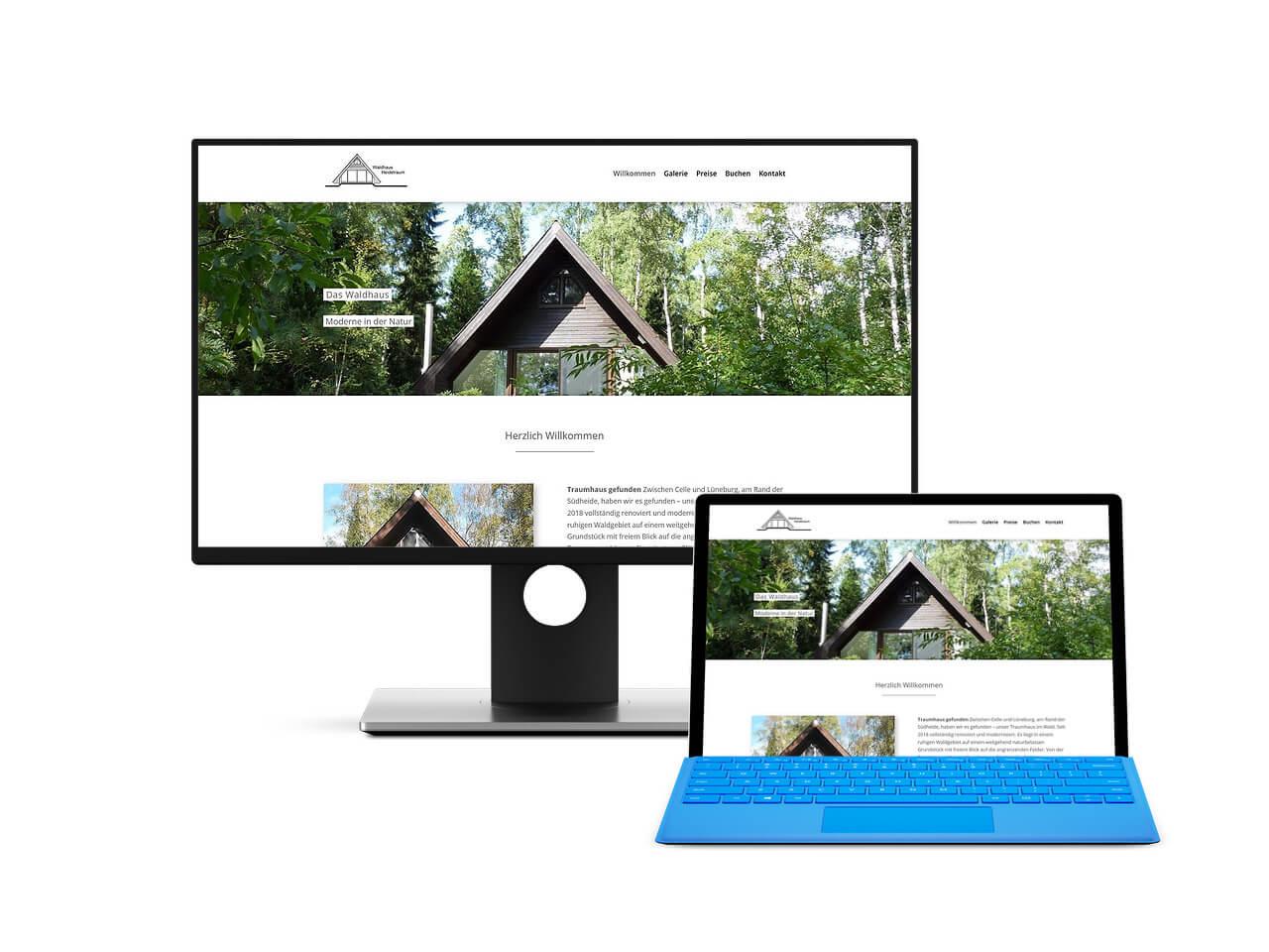 Screenshot der erstellten Website für Ferienhaus