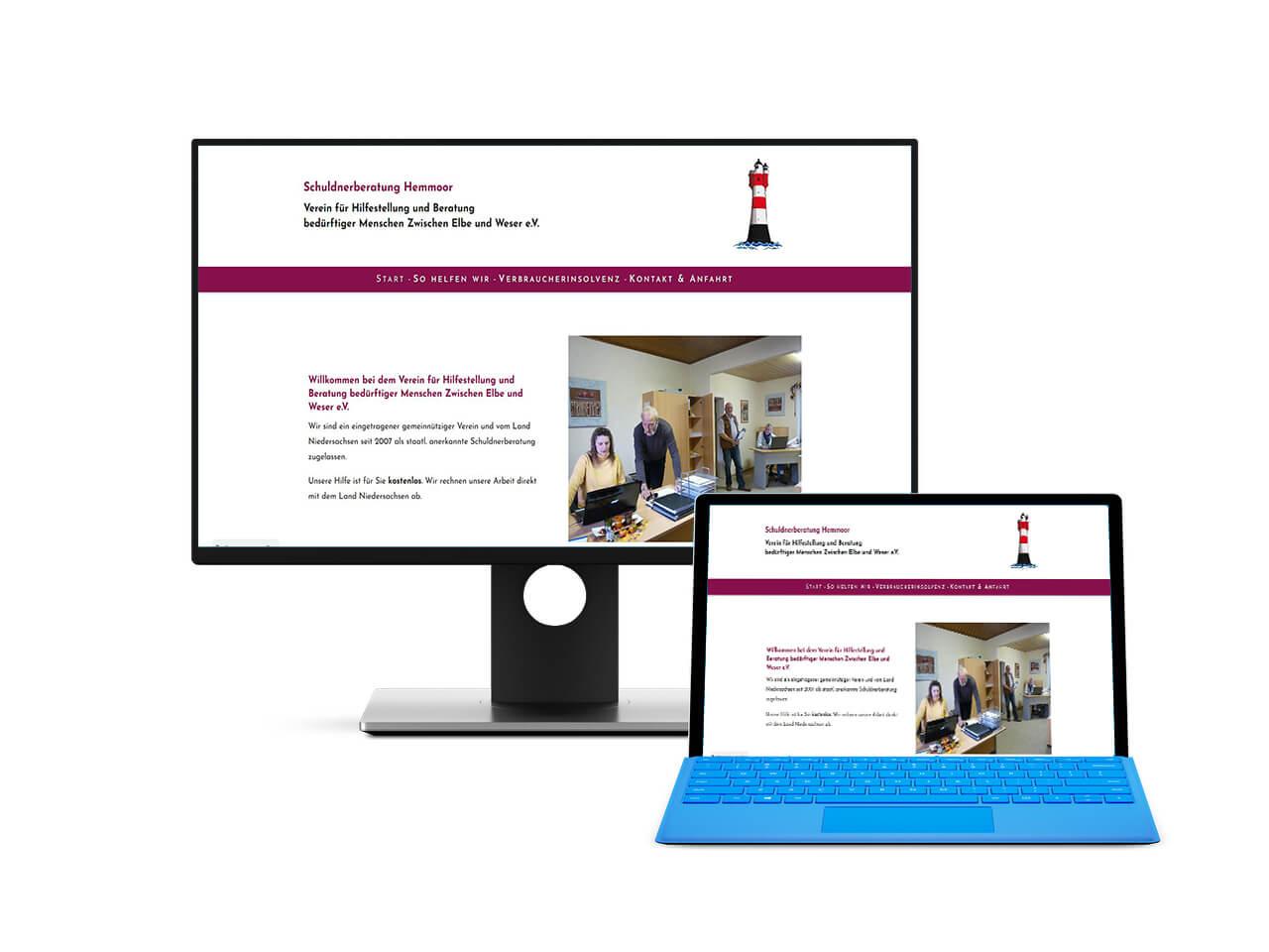 Screenshot der erstellten Website fuer die Schuldnerberatung Hemmoor