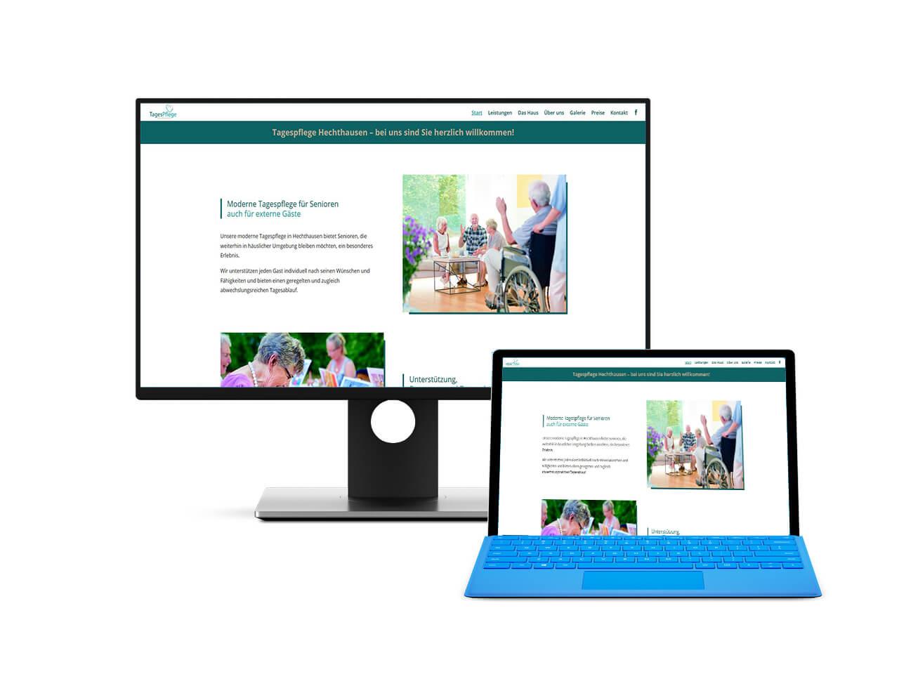 Screenshot der Website für die Tagespflege Hechthausen