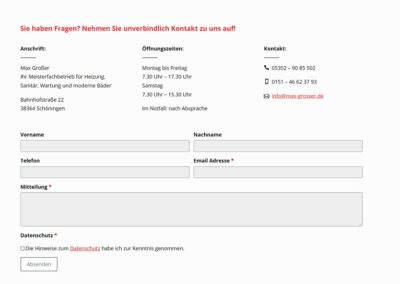 Kontaktformular auf einer Website